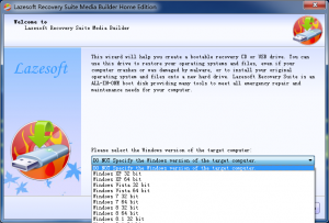 lazesoft media builder select target WinPE boot disk version