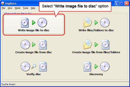 Select Write image file to disc option