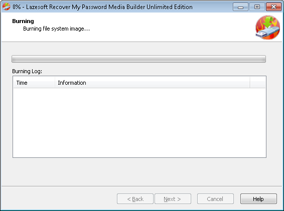 Lazesotft Recover My Password bootable media builder burning CD.