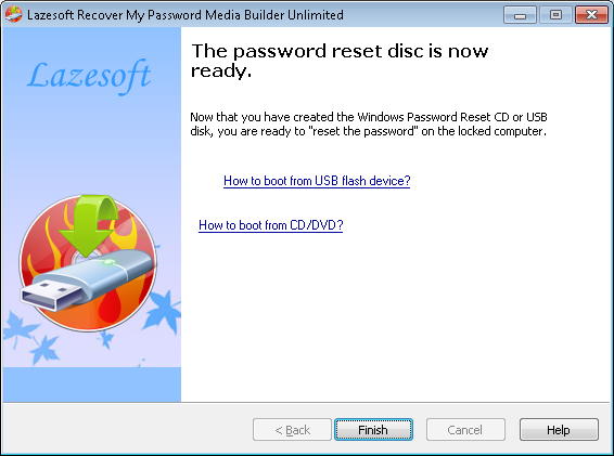 Lazesoft Recover My Password - How to burn a Windows password