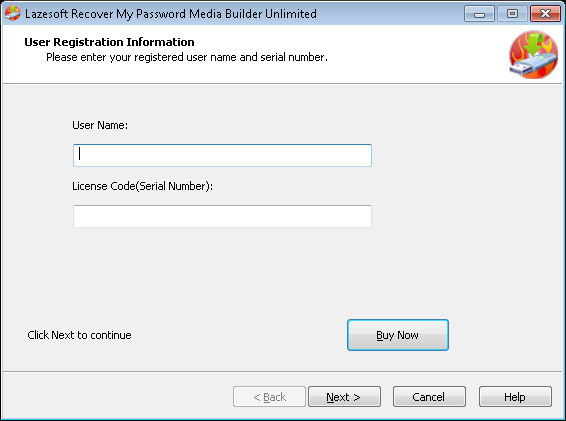 Lazesotft Recover My Password bootable media builder Register Page.