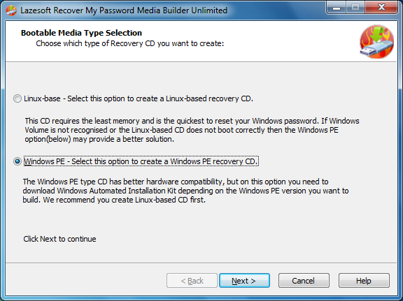 Lazesotft Recover My Password bootable media builder choose type of Recovery CD.