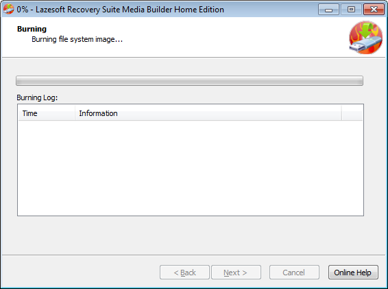Lazesotft Recovery Suite bootable media builder burning CD.