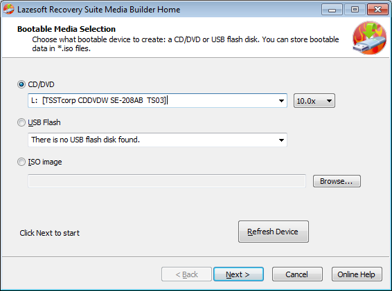 Lazesotft Recovery Suite bootable media builder Select CD/DVD drive.