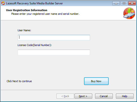 Lazesotft Recovery Product bootable media builder Register Page.