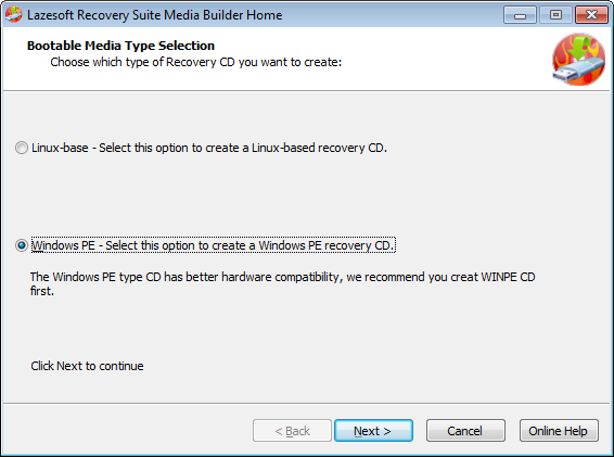 Lazesotft Recovery Suite bootable media builder choose type of Recovery CD.