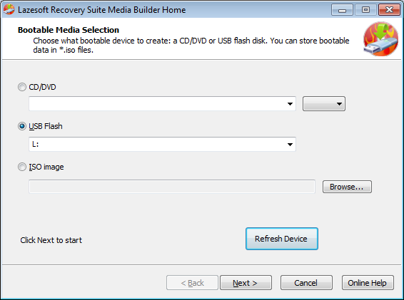 Lazesotft Recovery Suite bootable media builder media selection page