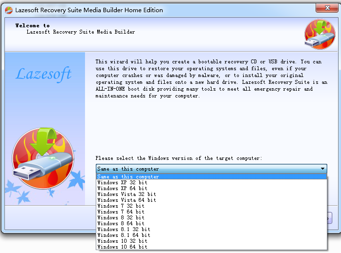Welcome to Lazesotft Recovery Suite bootable media builder.