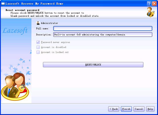 Reset account password, unlock user account.